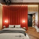 Sypialnia z mocno czerwonym akcentem